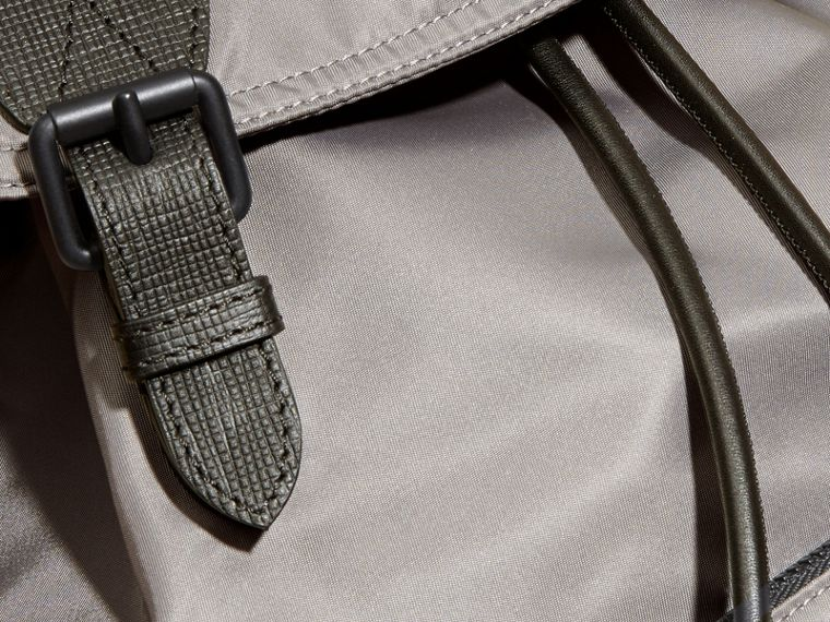 The Large Rucksack in Technical Nylon and Leather Thistle Grey - cell image 4
