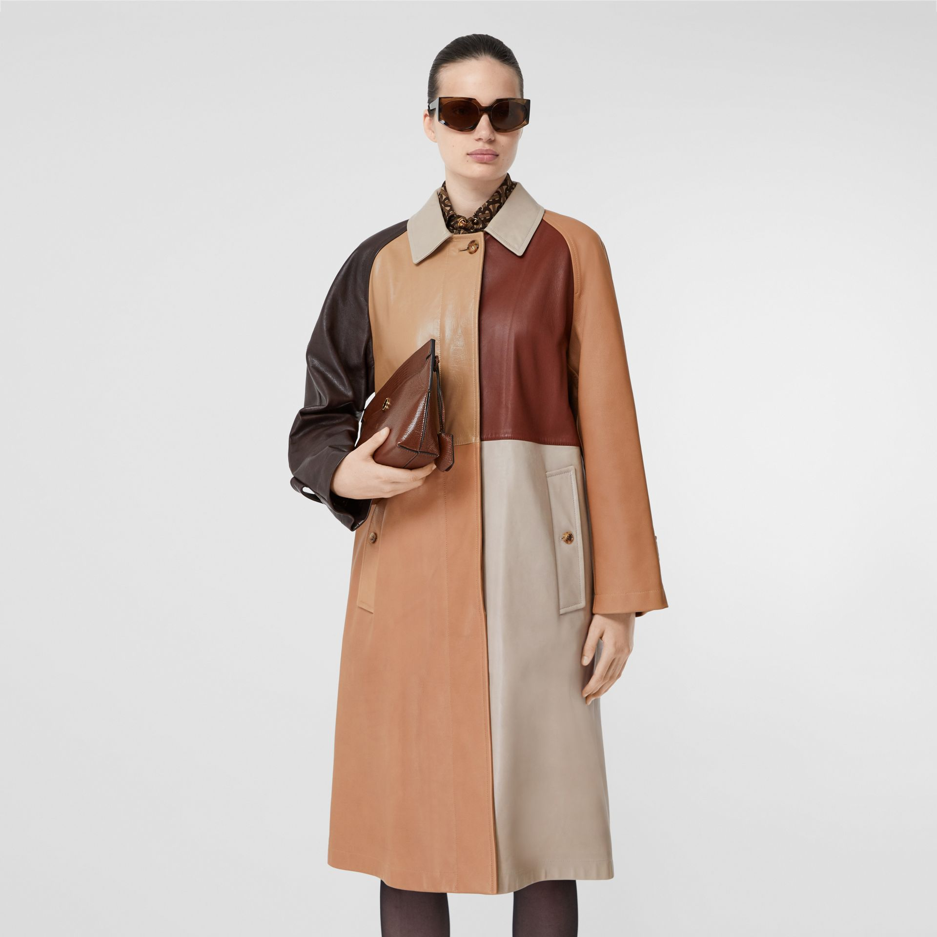 Patchwork Lambskin and Leather Car Coat in Biscuit - Women | Burberry - gallery image 6