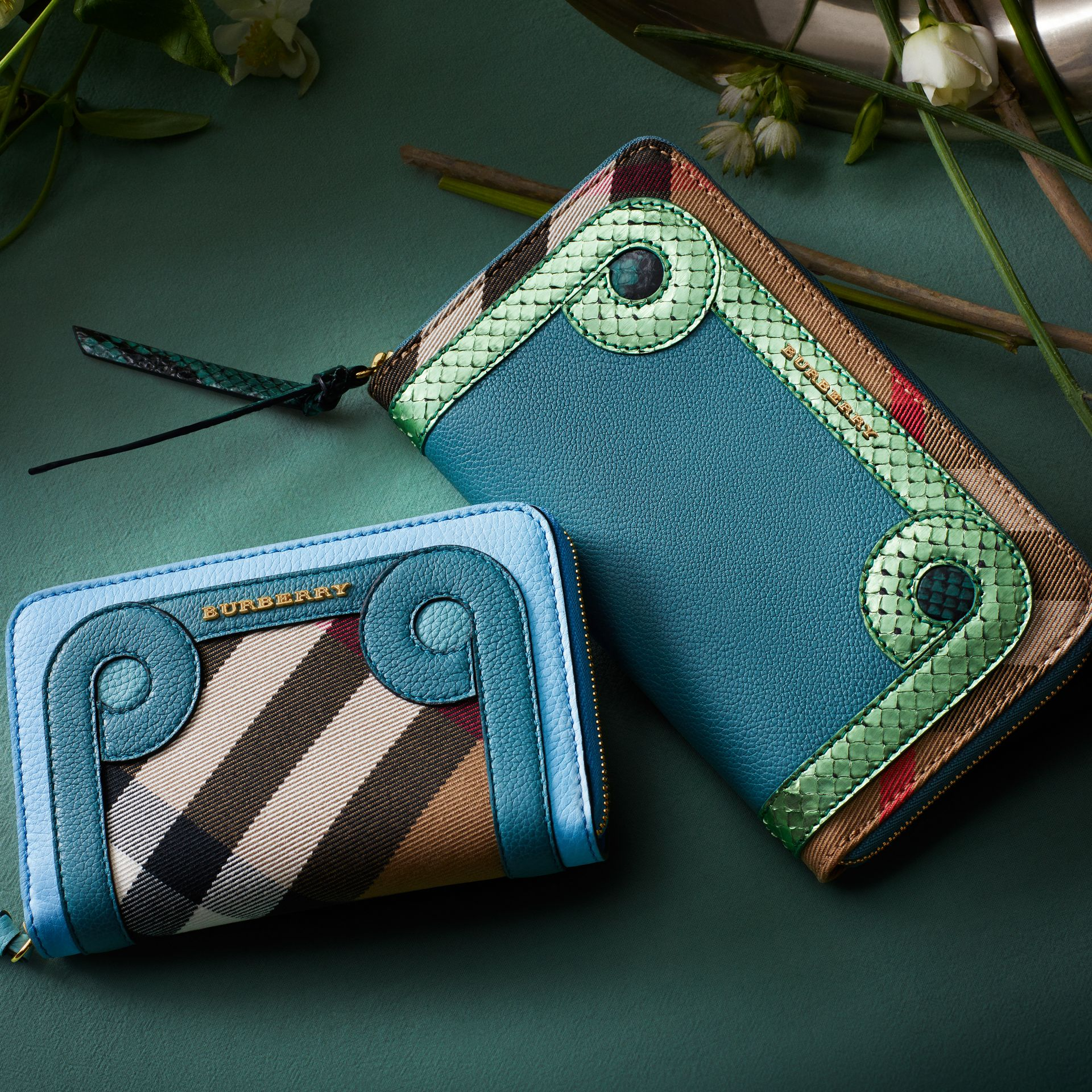 Bright mineral blue Grainy Leather Appliqué House Check Ziparound Wallet - gallery image 7