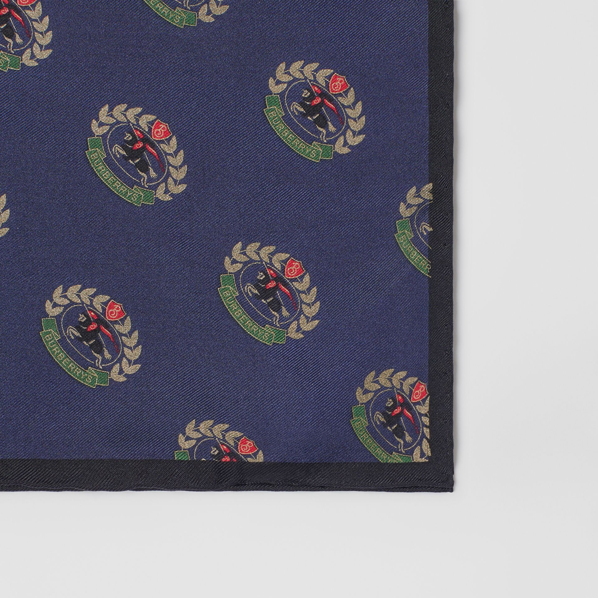 Archive Logo Print Silk Pocket Square in Navy - Men | Burberry United Kingdom - gallery image 1