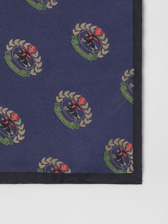 Archive Logo Print Silk Pocket Square in Navy - Men | Burberry - cell image 1