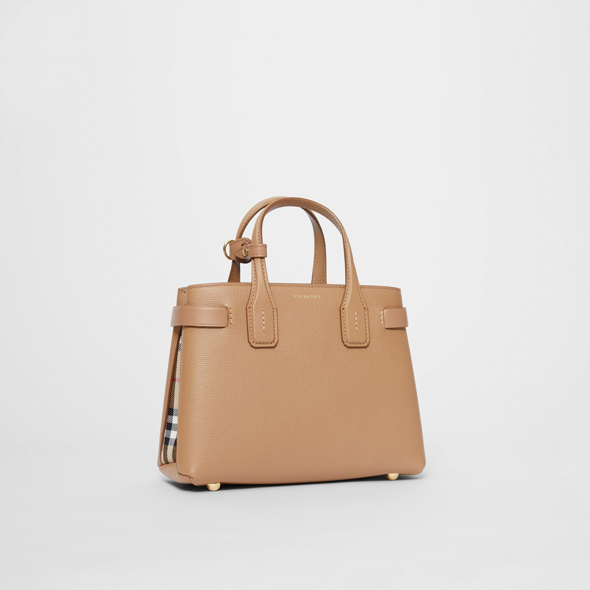 The Small Banner in Leather and Vintage Check in Camel - Women | Burberry - gallery image 0