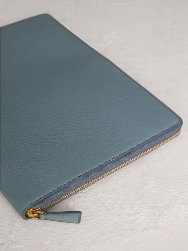 Embossed Grainy Leather Ziparound A4 Notebook Case in Dusty Teal Blue | Burberry - cell image 2