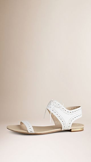 Perforated Detail Leather Sandals