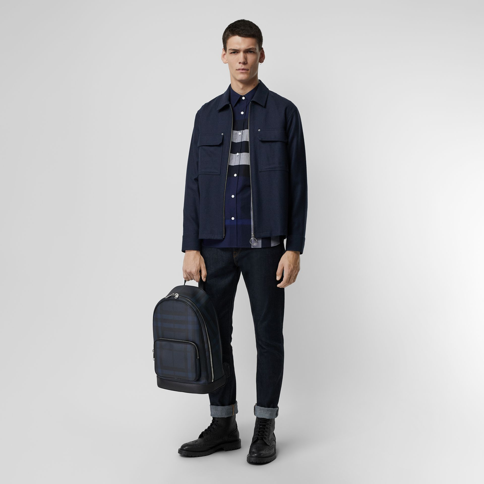 Check Stretch Cotton Shirt in Indigo Blue - Men | Burberry United Kingdom - gallery image 4