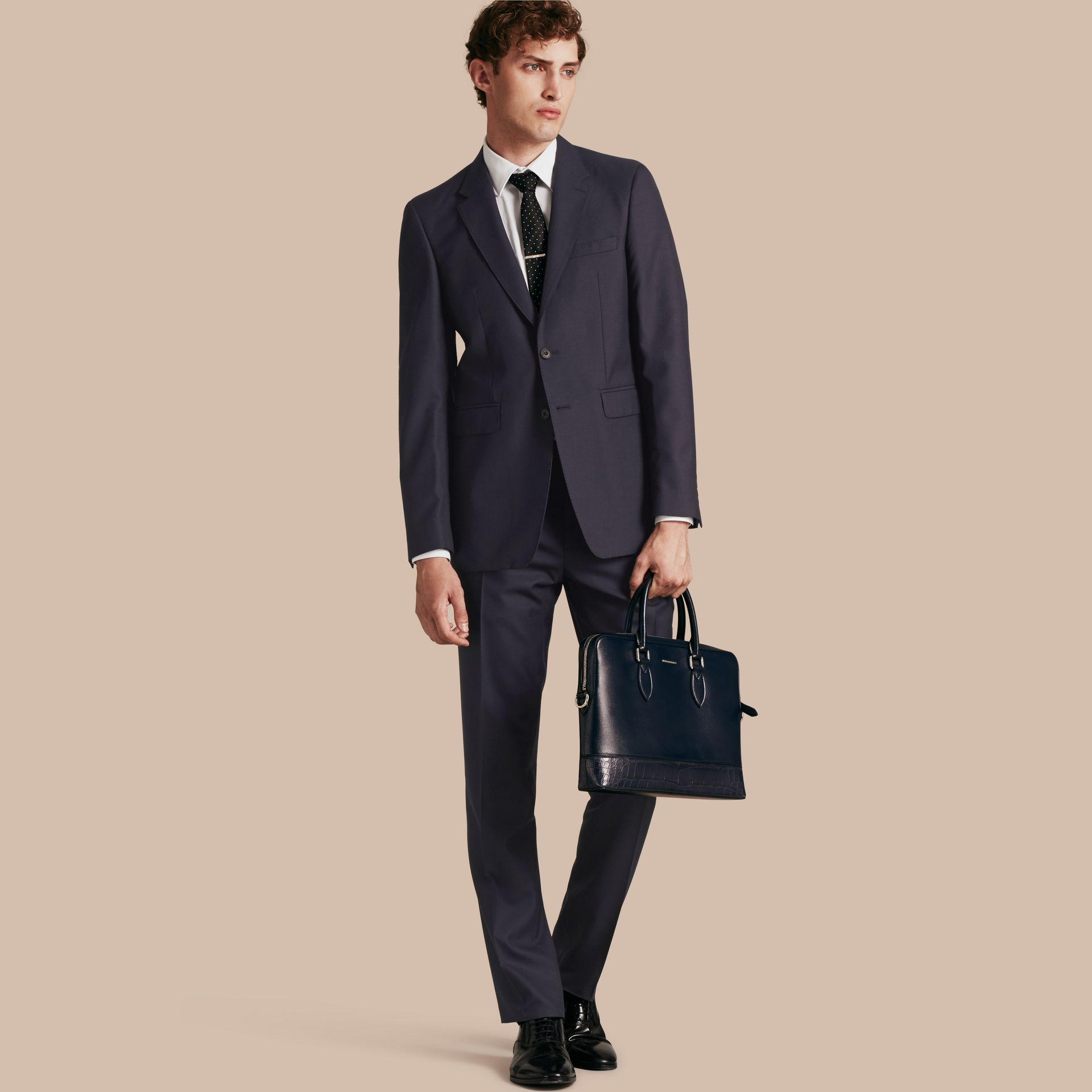 Navy Modern Fit Wool Part-canvas Suit Navy - gallery image 1