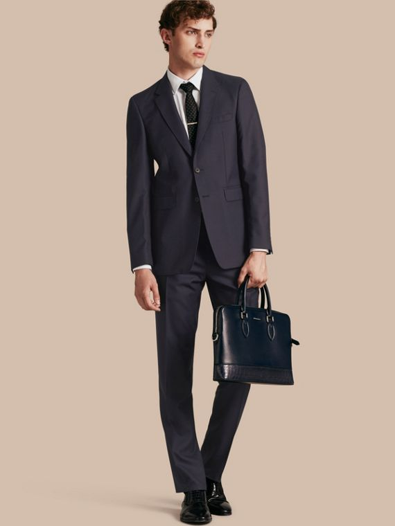 Modern Fit Wool Part-canvas Suit Navy