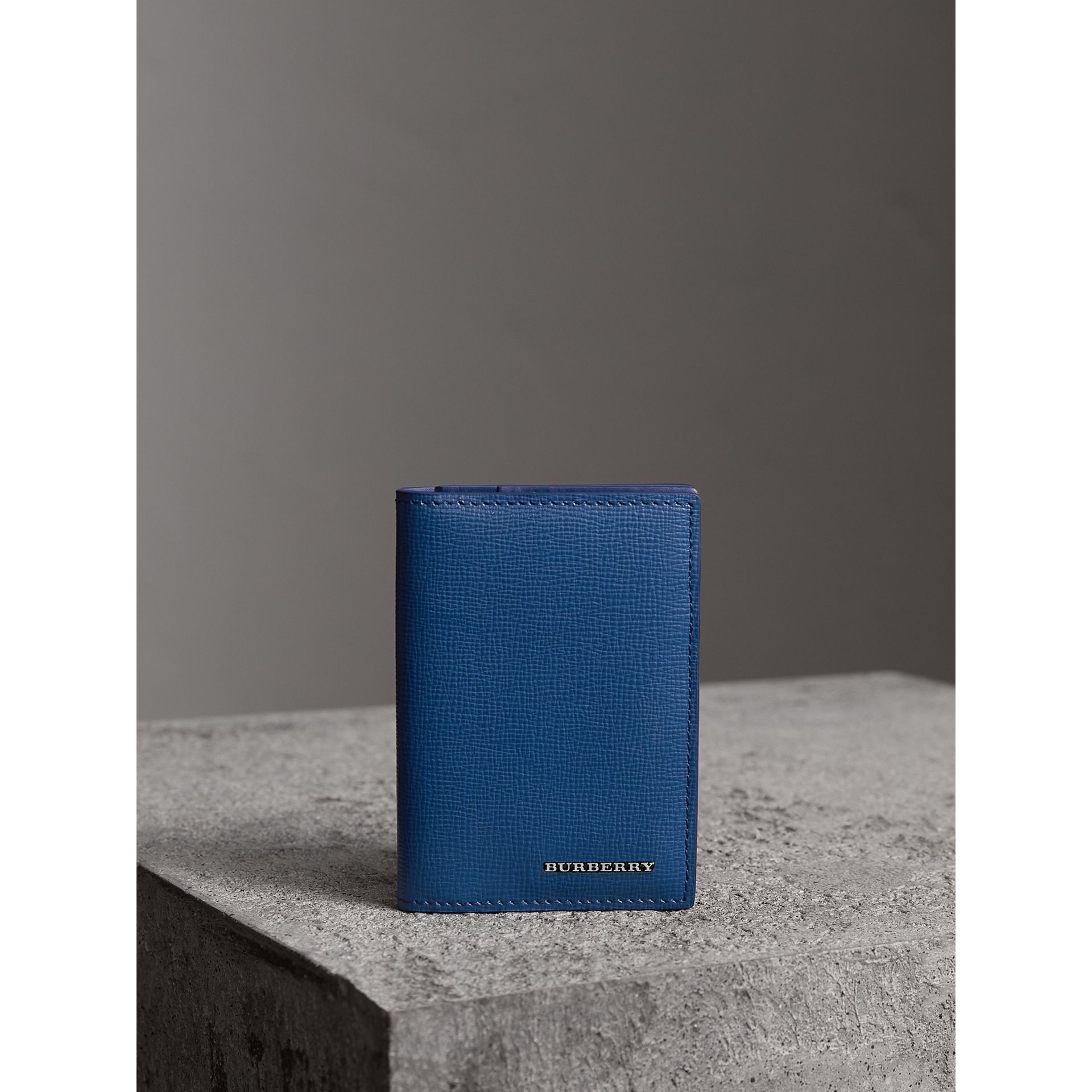 London Leather Folding Card Case in Deep Blue | Burberry - gallery image 0