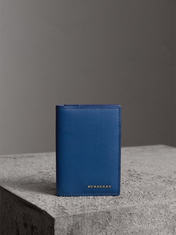 London Leather Folding Card Case in Deep Blue