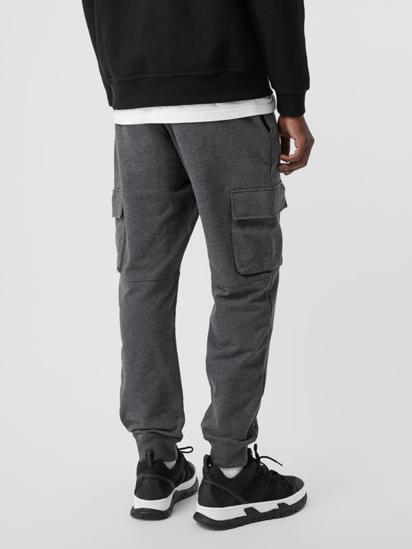 Pocket Detail Cotton Jersey Trackpants in Mid Grey Melange - Men | Burberry - cell image 2