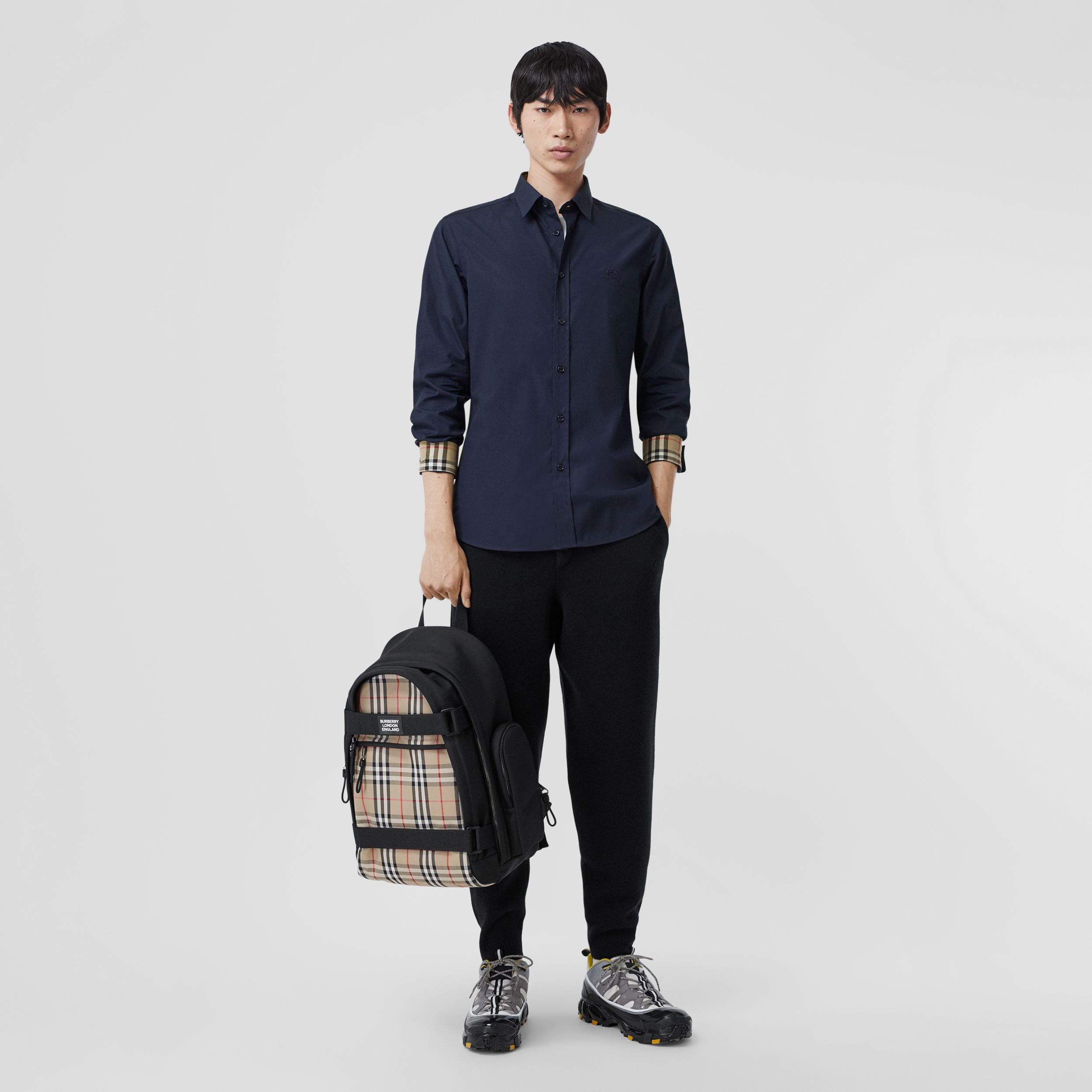 Slim Fit Embroidered EKD Stretch Cotton Shirt in Navy - Men | Burberry - 1