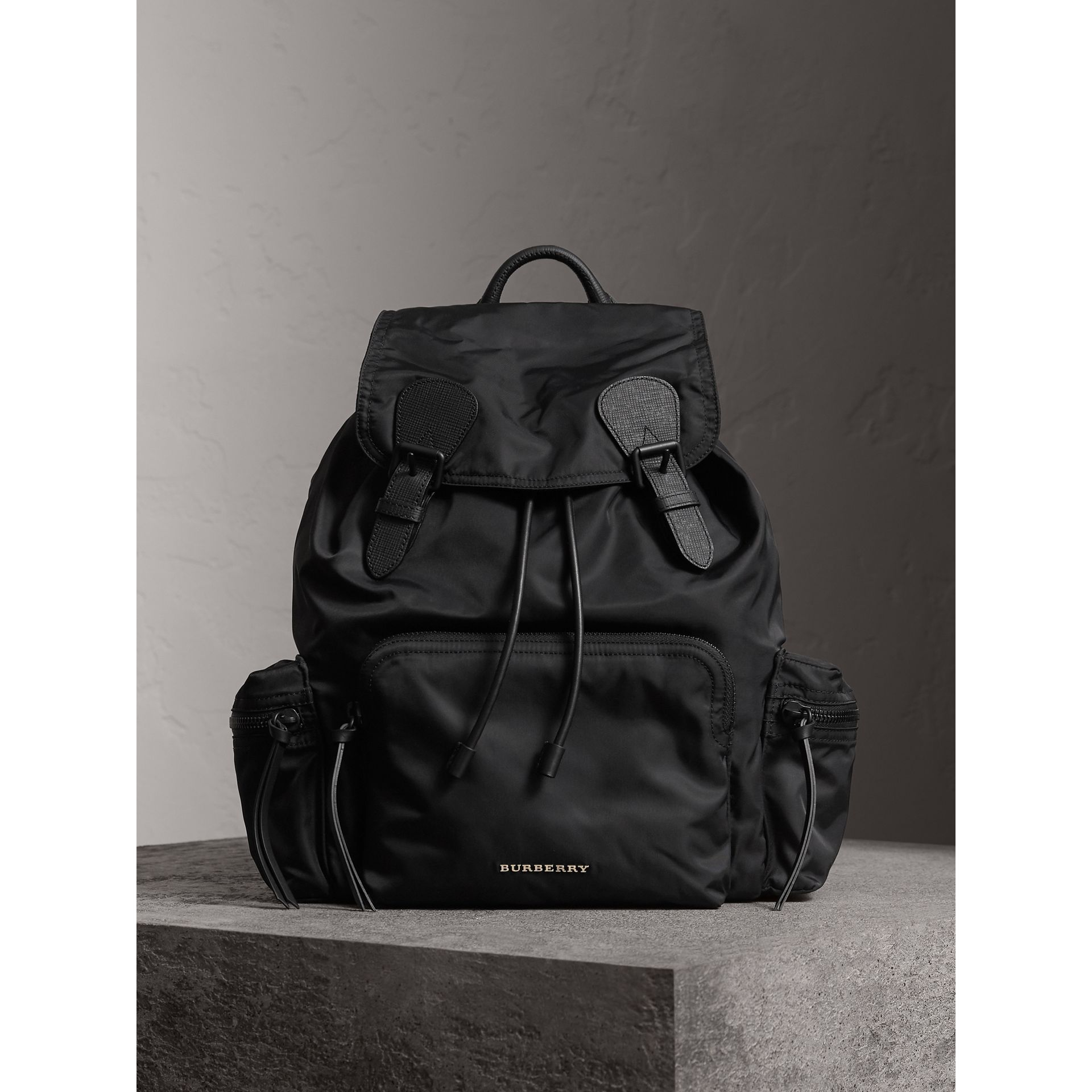 The Large Rucksack in Technical Nylon and Leather in Black - Men | Burberry Australia - gallery image 1
