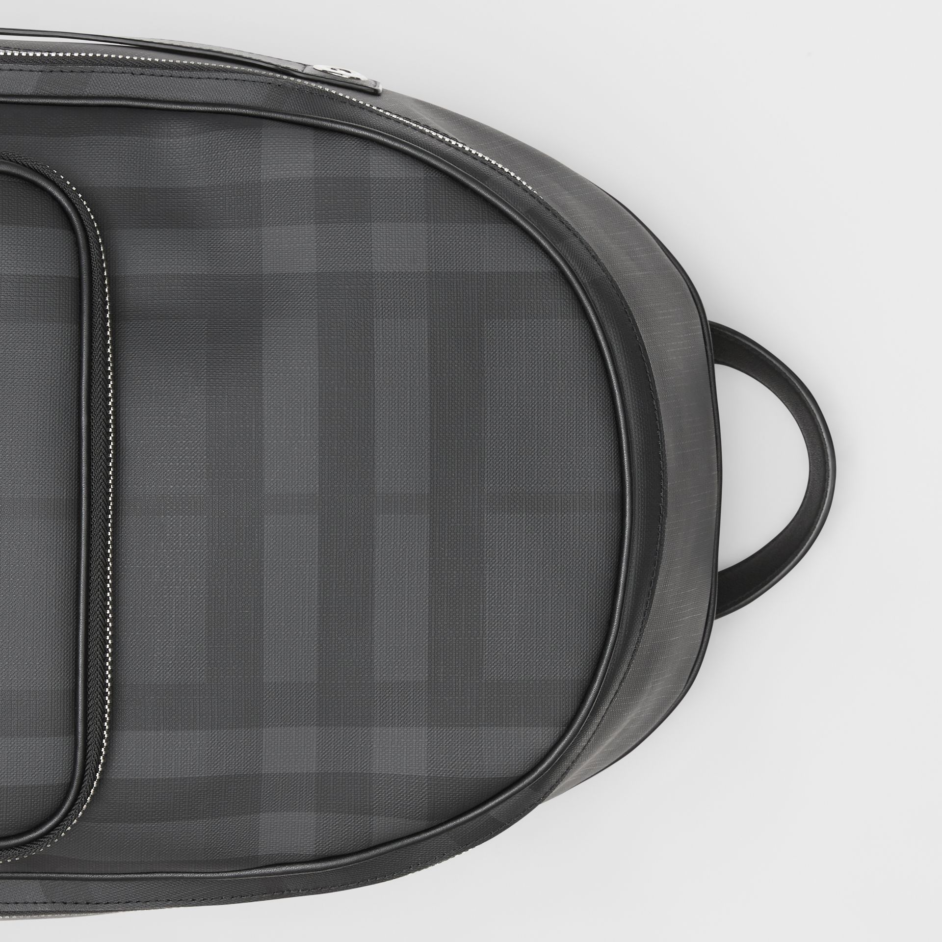 London Check and Leather Backpack in Dark Charcoal - Men | Burberry United States - gallery image 1
