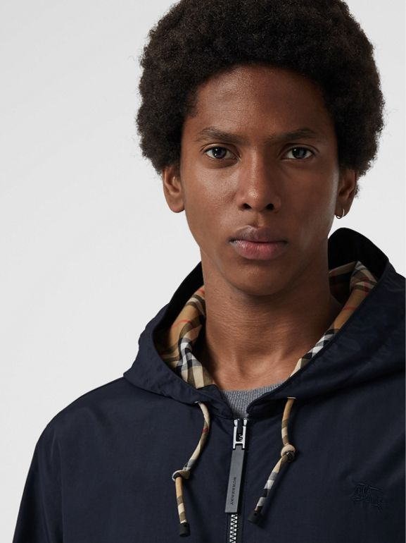Vintage Check Detail Colour Block Hooded Jacket in Navy - Men | Burberry - cell image 1