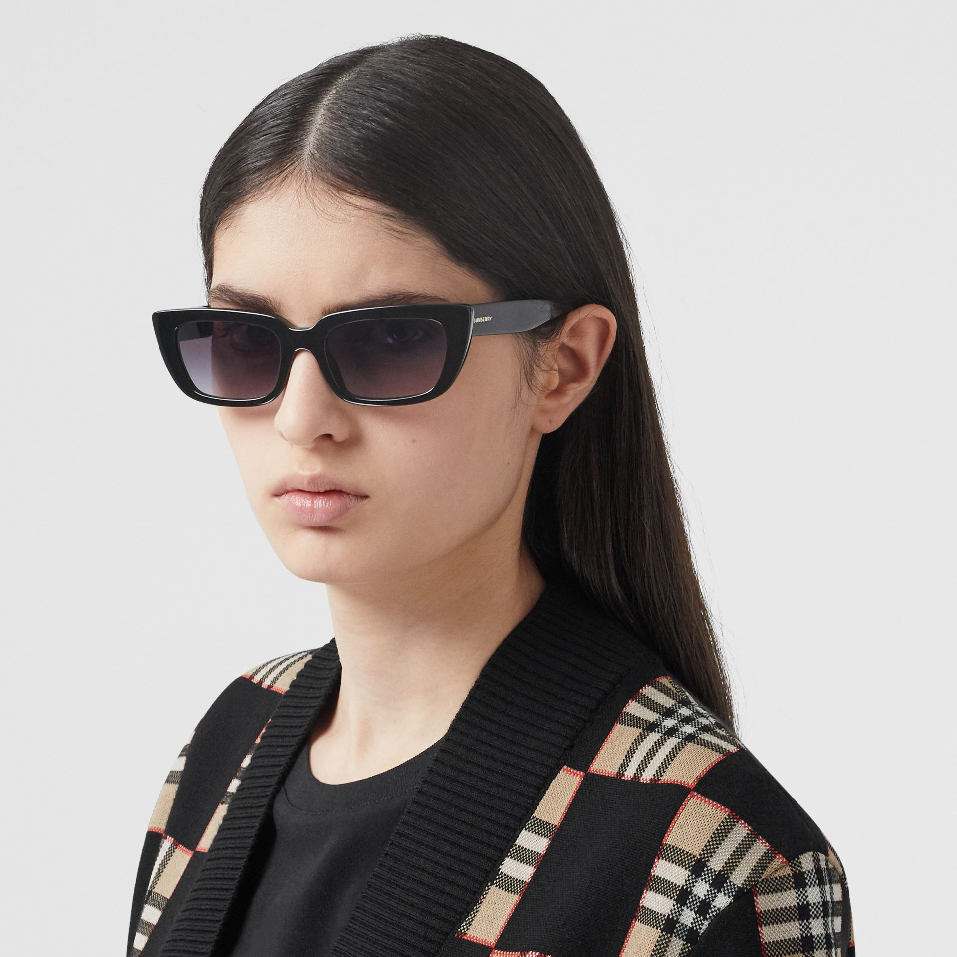 Bio-acetate Rectangular Frame Sunglasses in Black - Women | Burberry - gallery image 2
