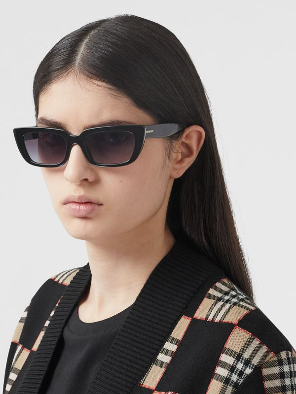 Bio-acetate Rectangular Frame Sunglasses in Black - Women | Burberry Australia - cell image 2