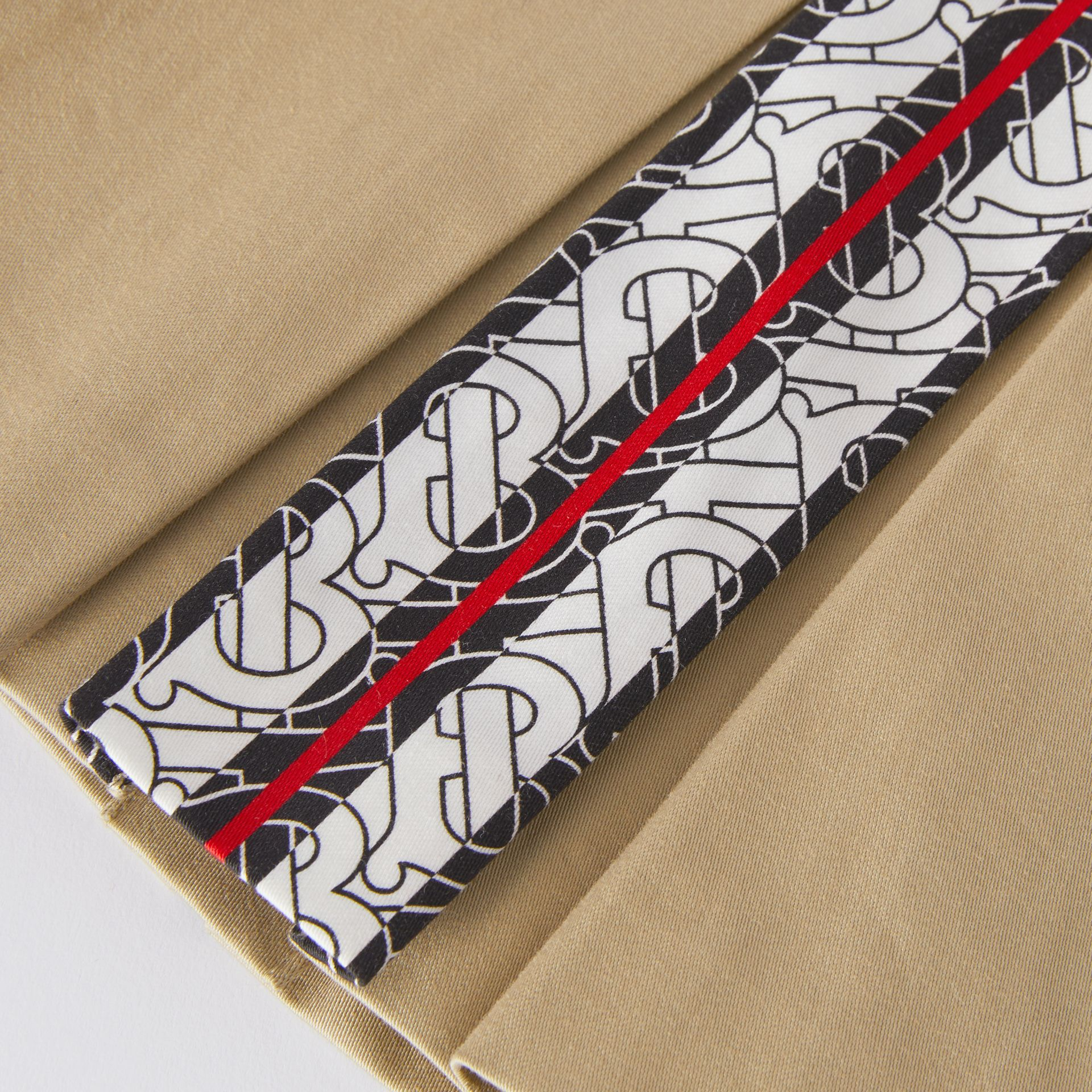 Monogram Stripe Print Box-pleated Cotton Skirt in Honey - Children | Burberry United Kingdom - gallery image 1