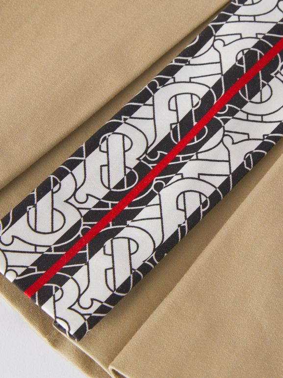 Monogram Stripe Print Box-pleated Cotton Skirt in Honey - Children | Burberry United Kingdom - cell image 1
