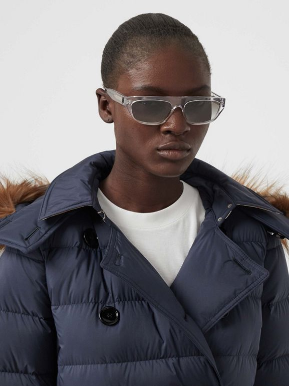 Detachable Hood Down-filled Coat in Navy - Women | Burberry - cell image 1
