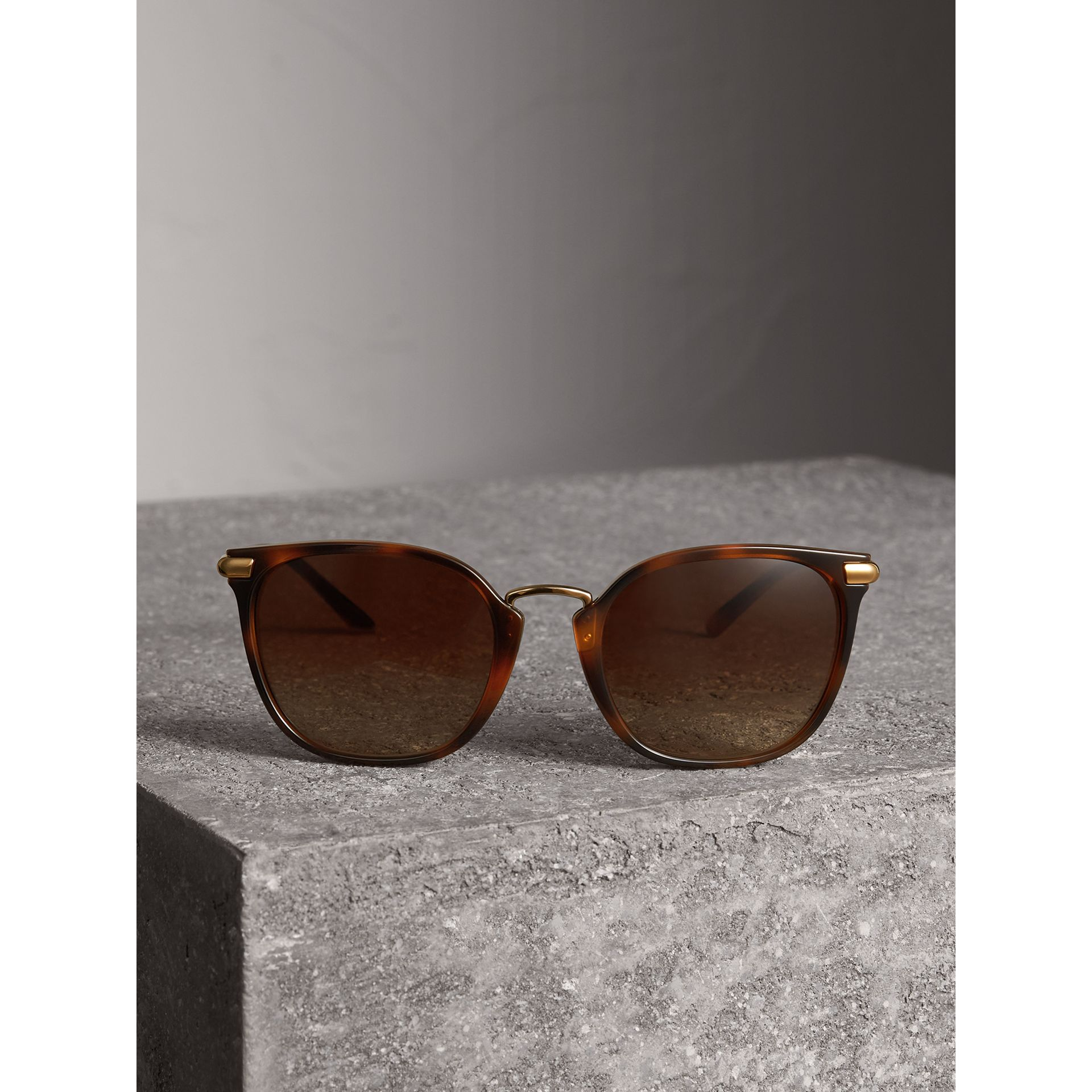 Check Detail Square Frame Sunglasses in Tortoise Shell - Women | Burberry - gallery image 3