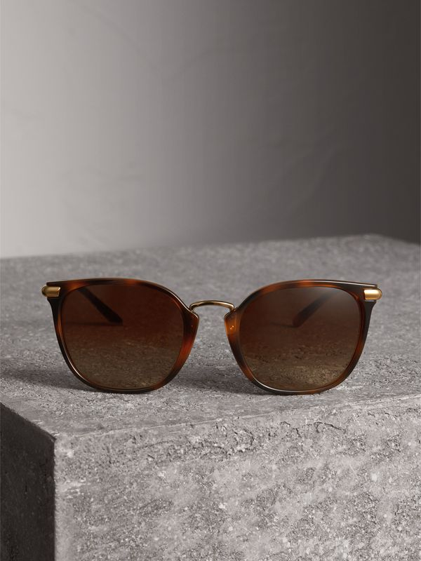 Check Detail Square Frame Sunglasses in Tortoise Shell - Women | Burberry United States - cell image 3