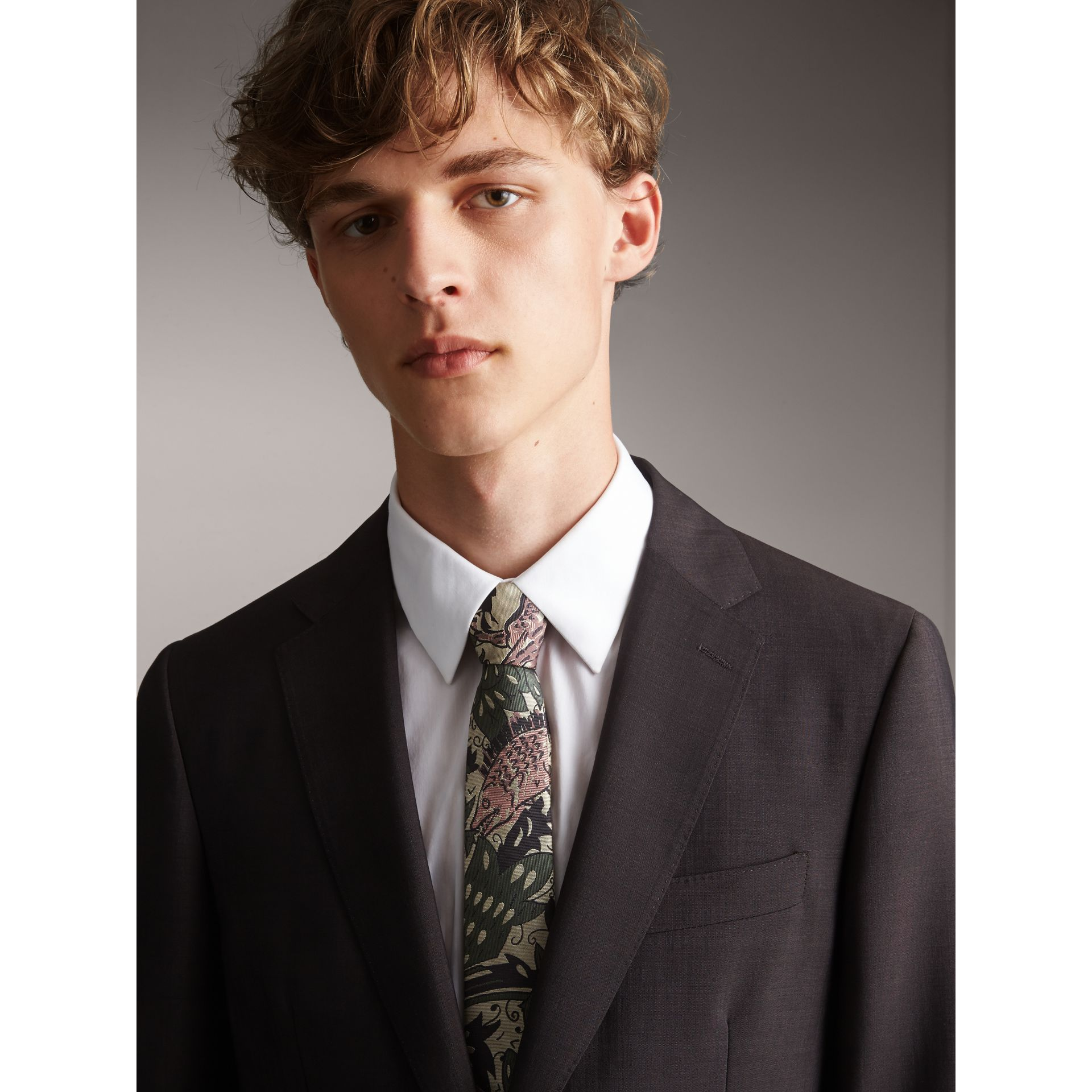 Slim Cut Beasts Silk Jacquard Tie in Chalk Green - Men | Burberry - gallery image 4