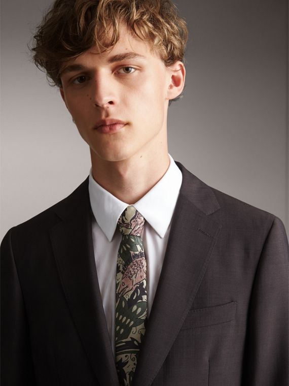 Slim Cut Beasts Silk Jacquard Tie in Chalk Green - Men | Burberry - cell image 3