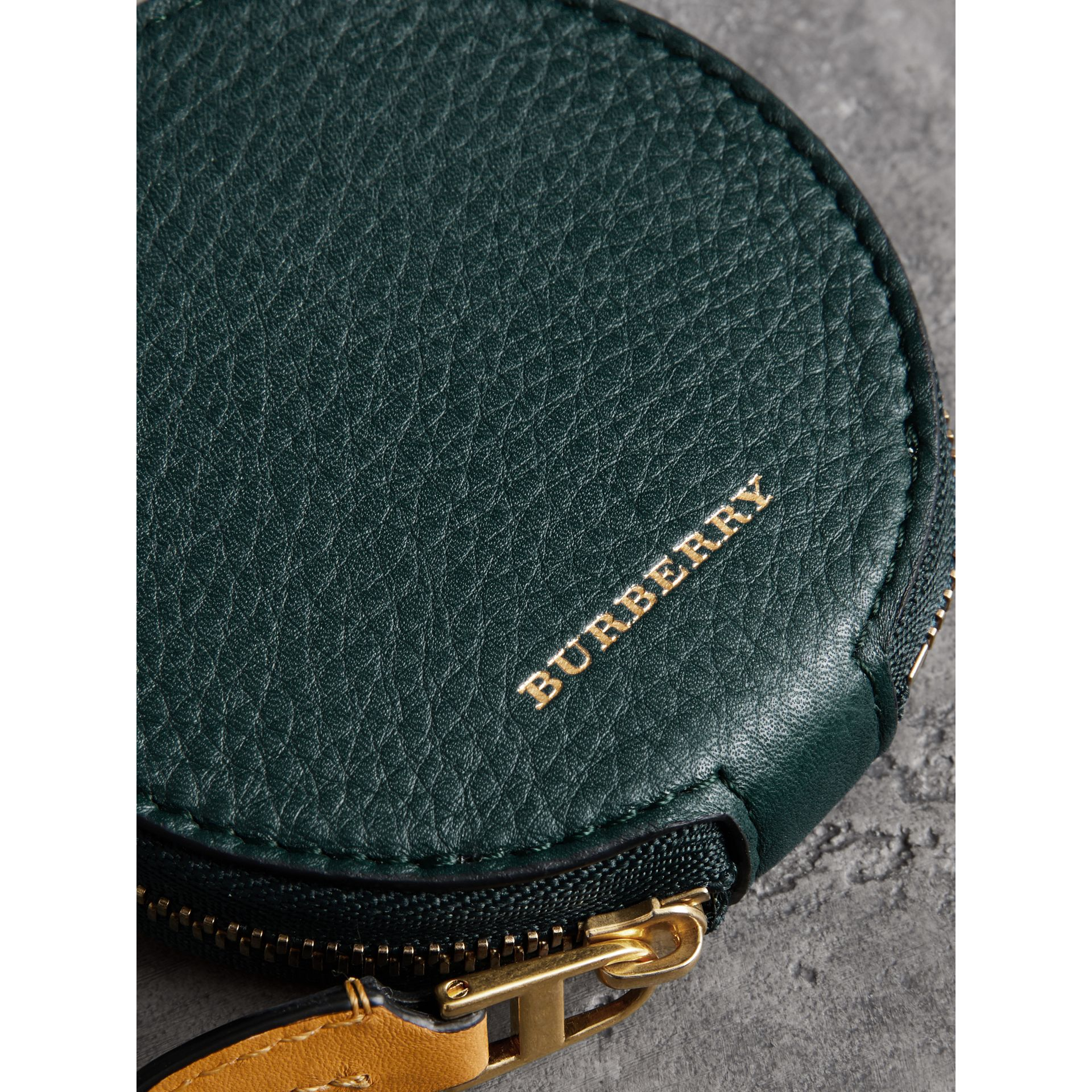 Small Round Leather Coin Case in Dark Cyan/cornflower Yellow | Burberry - gallery image 1