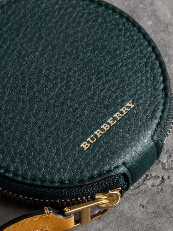 Small Round Leather Coin Case in Dark Cyan/cornflower Yellow | Burberry Singapore - cell image 1
