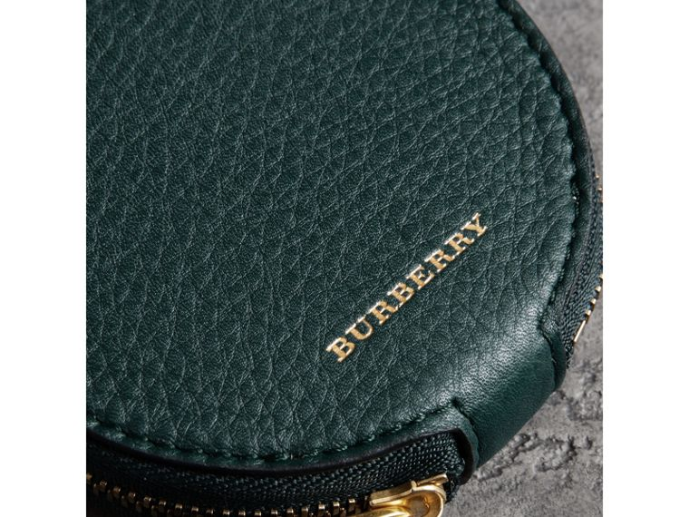Small Round Leather Coin Case in Dark Cyan/cornflower Yellow | Burberry United States - cell image 1
