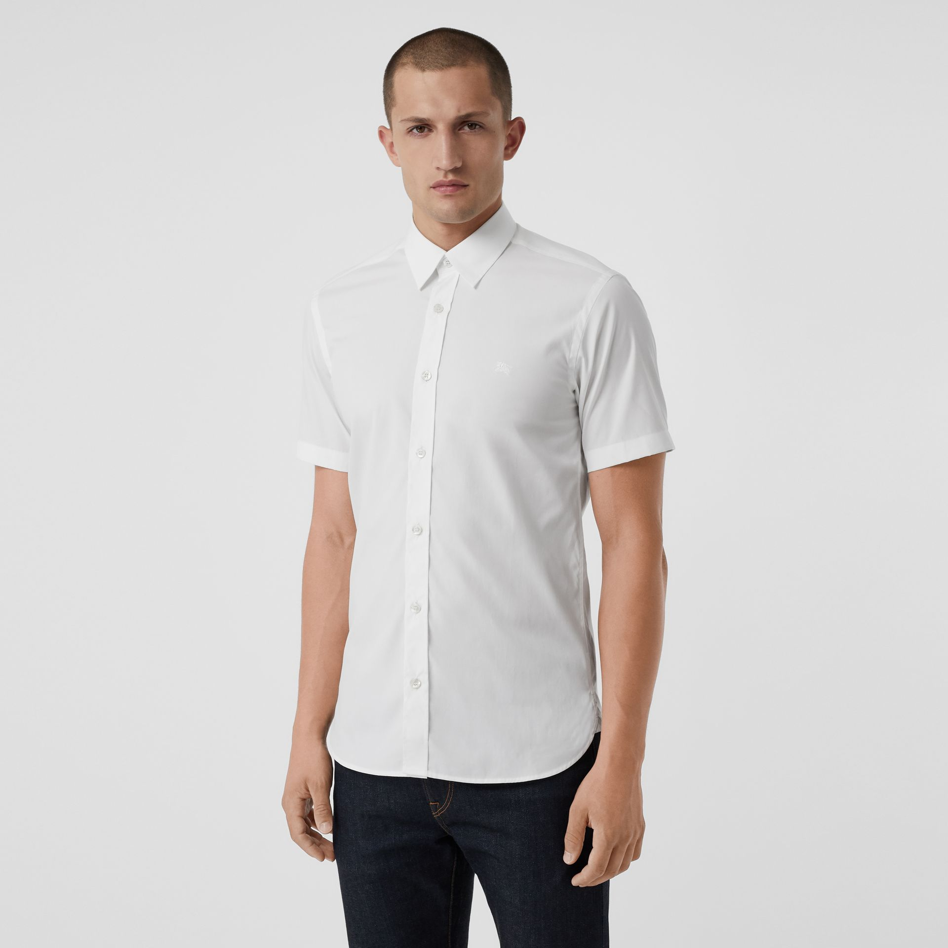 Short-sleeve Stretch Cotton Shirt in White - Men | Burberry - gallery image 4