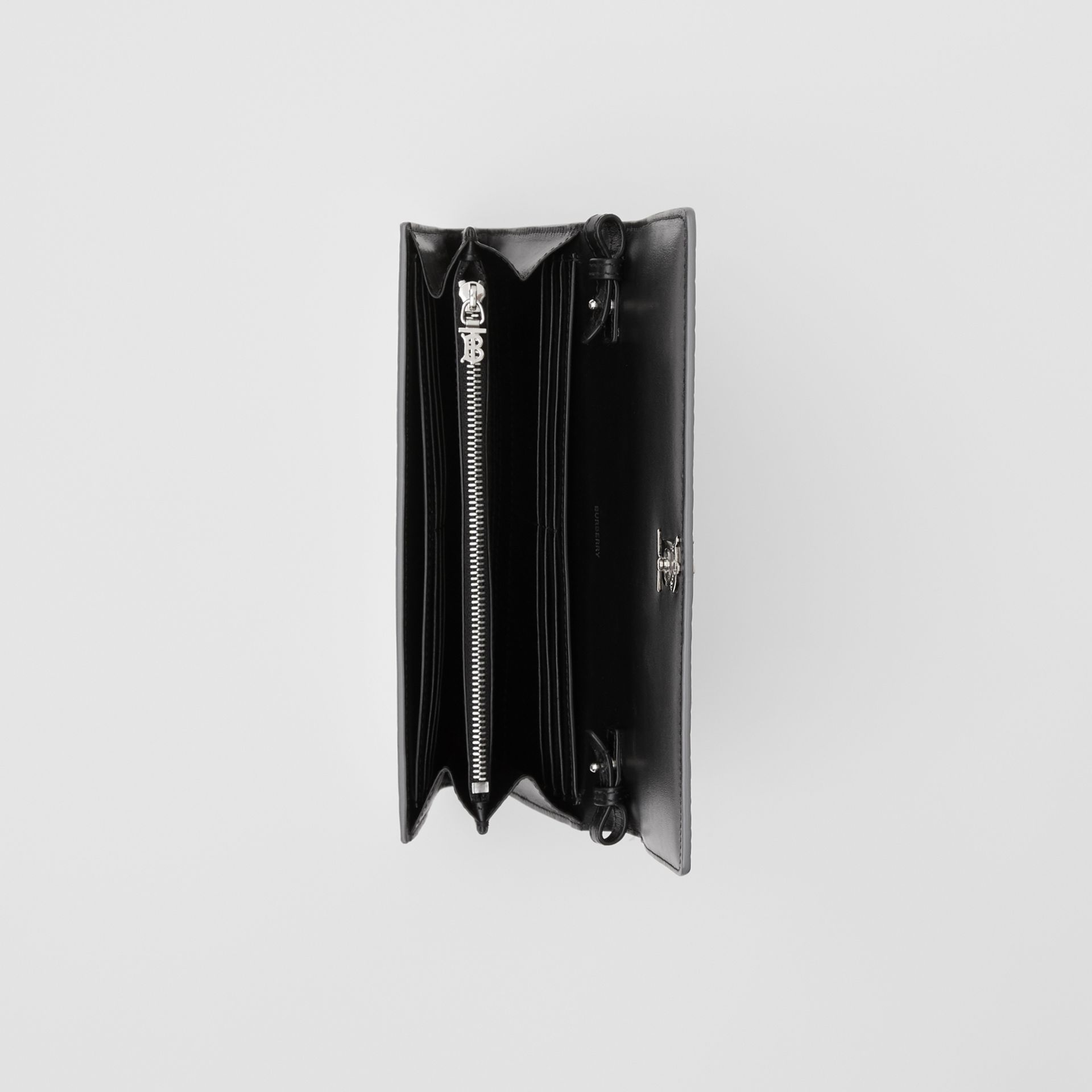 Portefeuille embossé métallisé avec sangle amovible (Argent) - Femme | Burberry - photo de la galerie 4