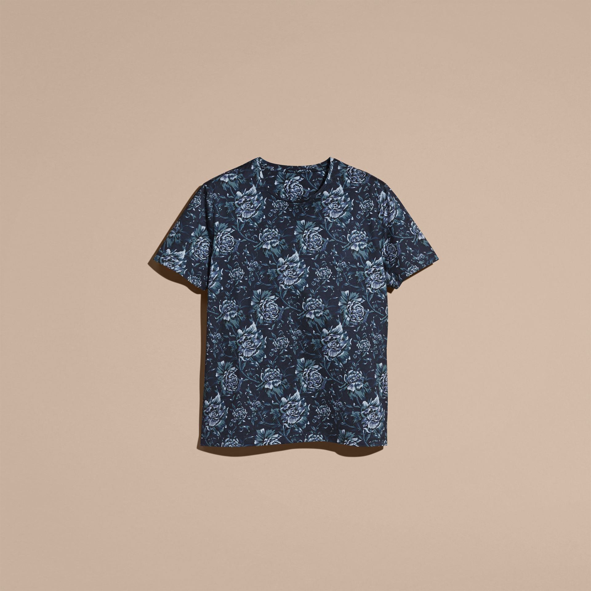 Navy Peony Rose Print Cotton T-Shirt - gallery image 4