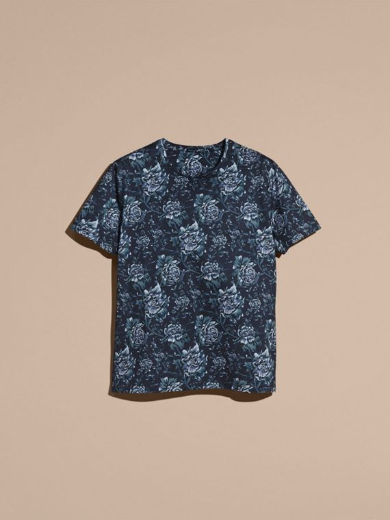 Navy Peony Rose Print Cotton T-Shirt - cell image 3
