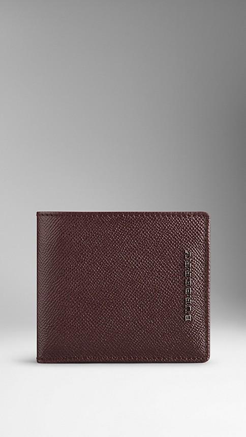 Deep claret London Leather Folding Wallet Deep Claret - Image 1