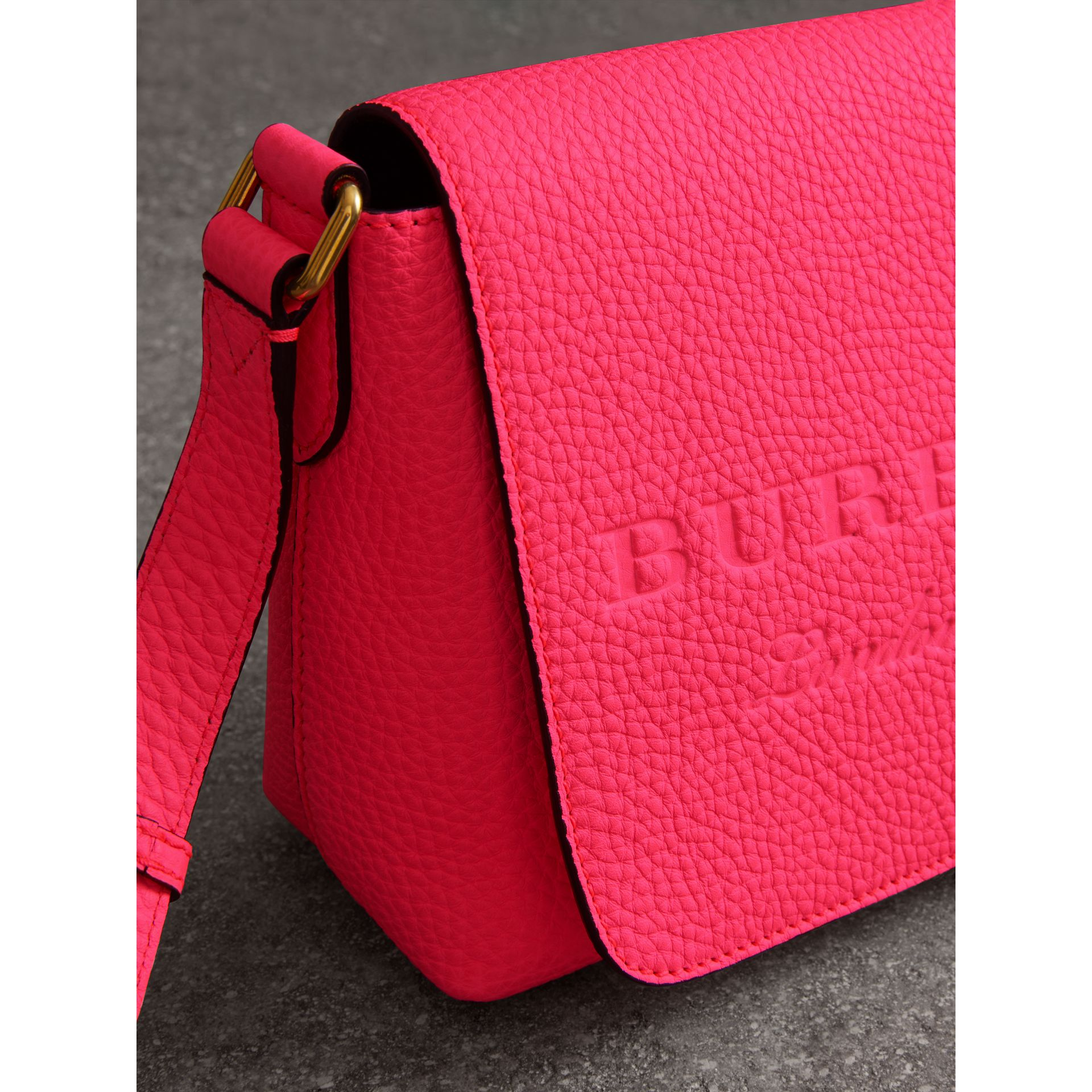 Small Embossed Neon Leather Messenger Bag in Pink - Women | Burberry United States - gallery image 1
