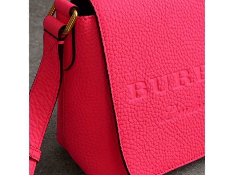 Small Embossed Neon Leather Messenger Bag in Pink - Women | Burberry - cell image 1
