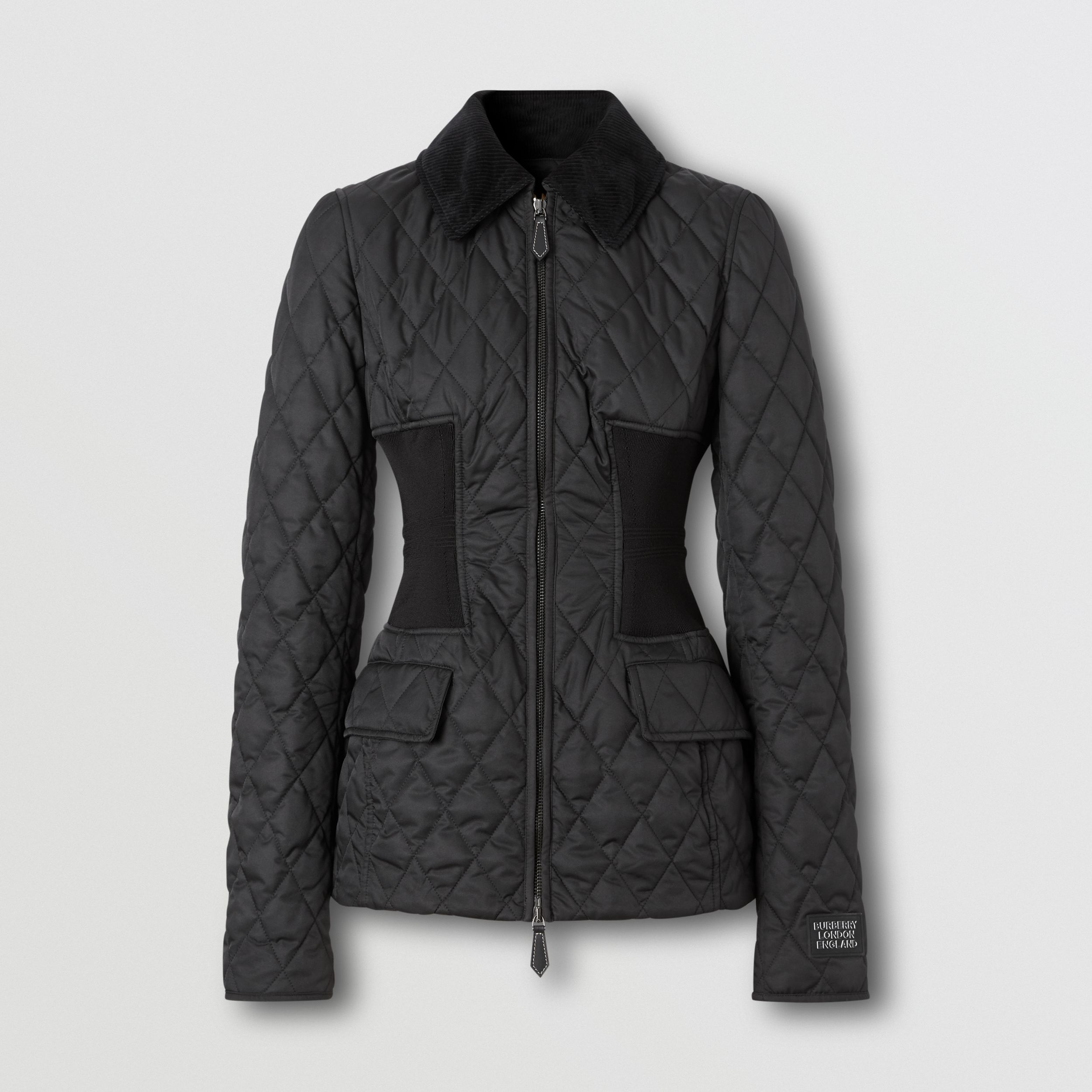 Rib Knit Panel Diamond Quilted Barn Jacket in Black - Women | Burberry - 4