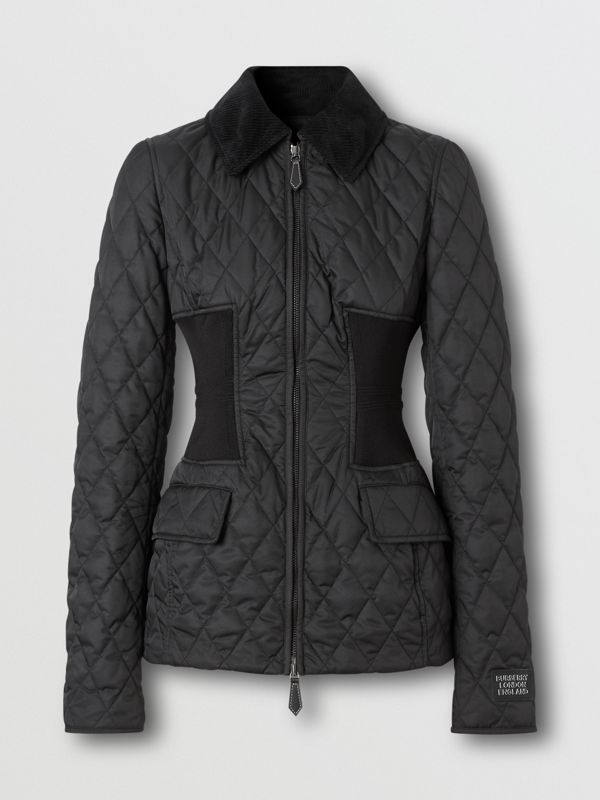 Rib Knit Panel Diamond Quilted Barn Jacket in Black - Women | Burberry United Kingdom - cell image 3