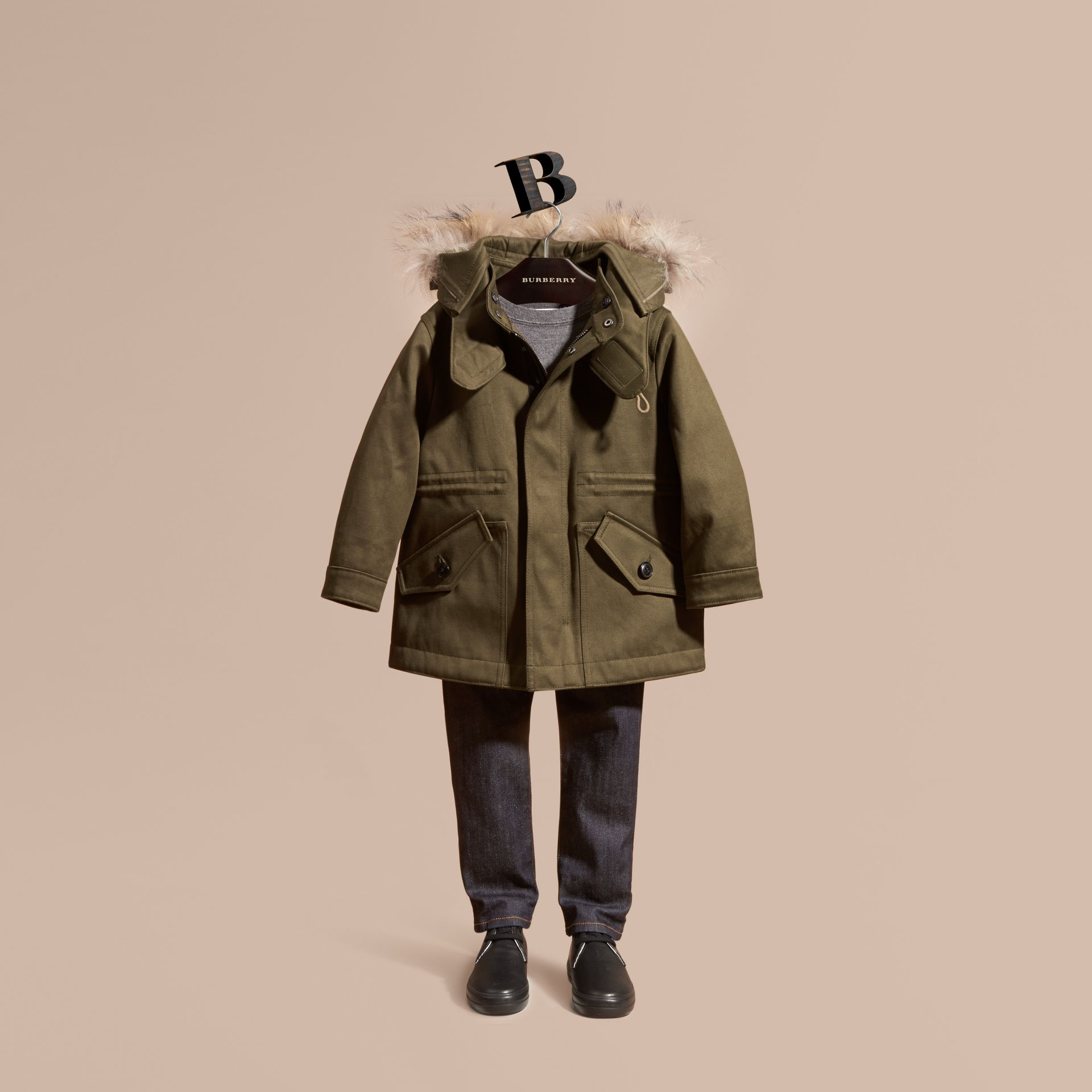 Olive green Fur-trimmed Cotton Sateen Parka - gallery image 1