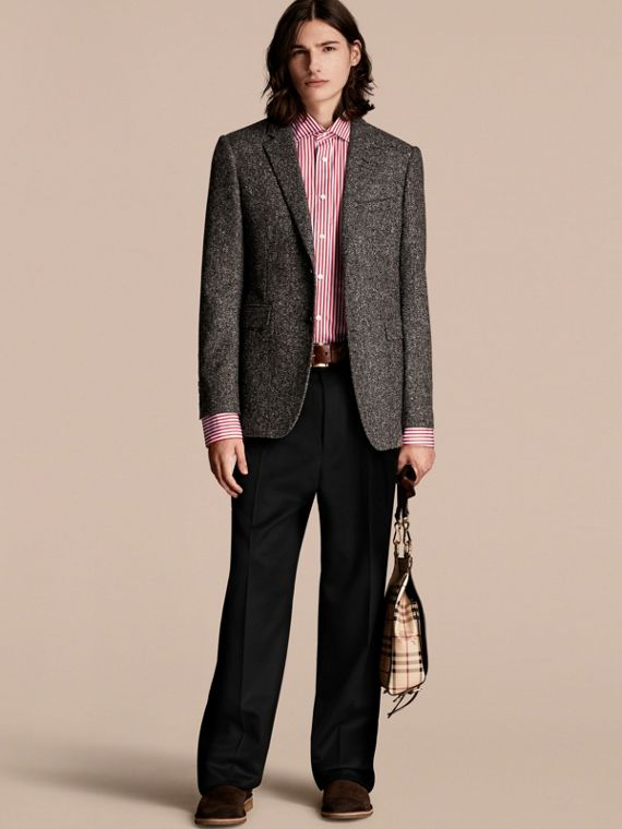 Tailored Wool Cashmere Blend Donegal Tweed Jacket