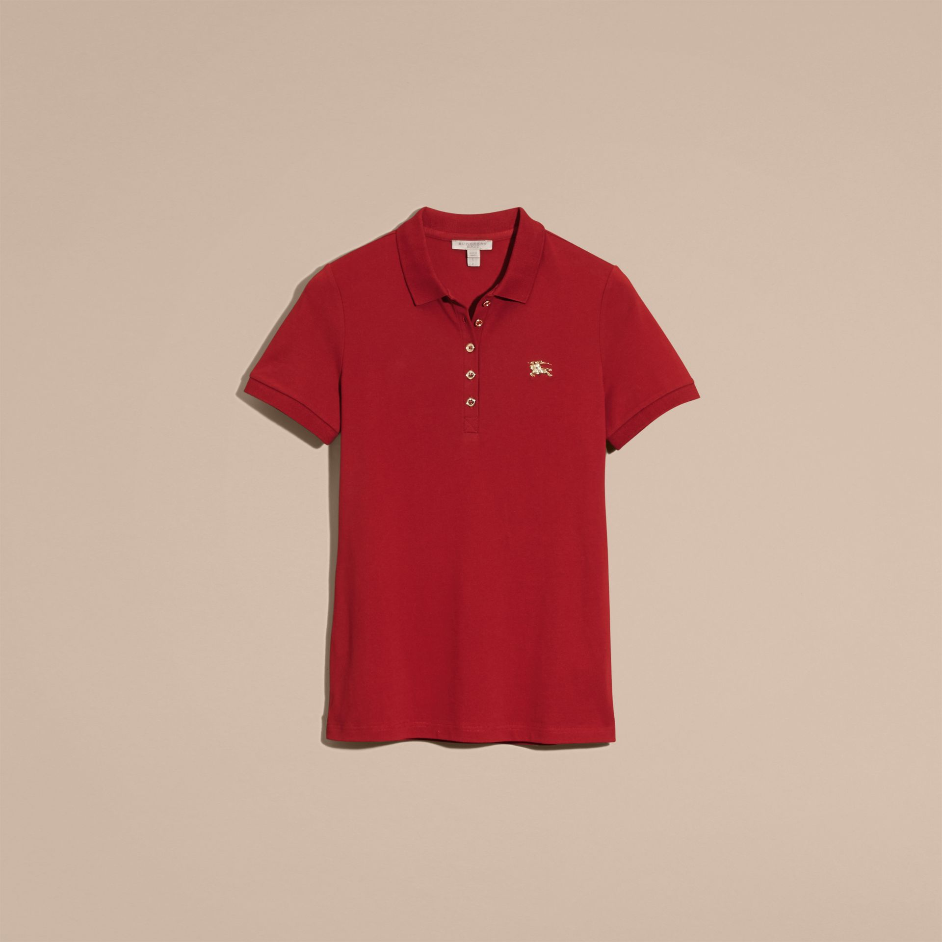 Military red Stretch Cotton Piqué Polo Shirt Military Red - gallery image 4