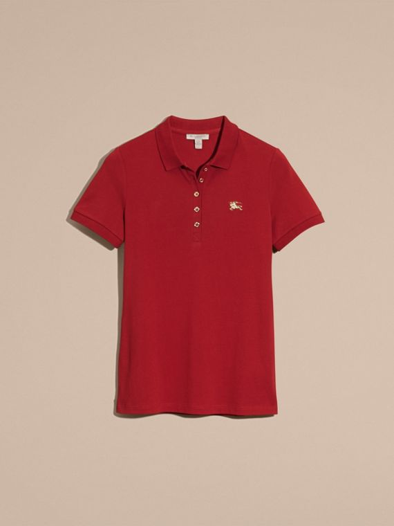 Military red Stretch Cotton Piqué Polo Shirt Military Red - cell image 3