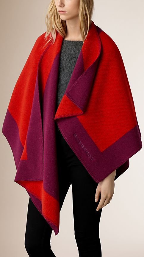Bright coral red Border Detail Wool Cashmere Poncho - Image 1