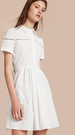 Lace Detail Cotton Shirt Dress