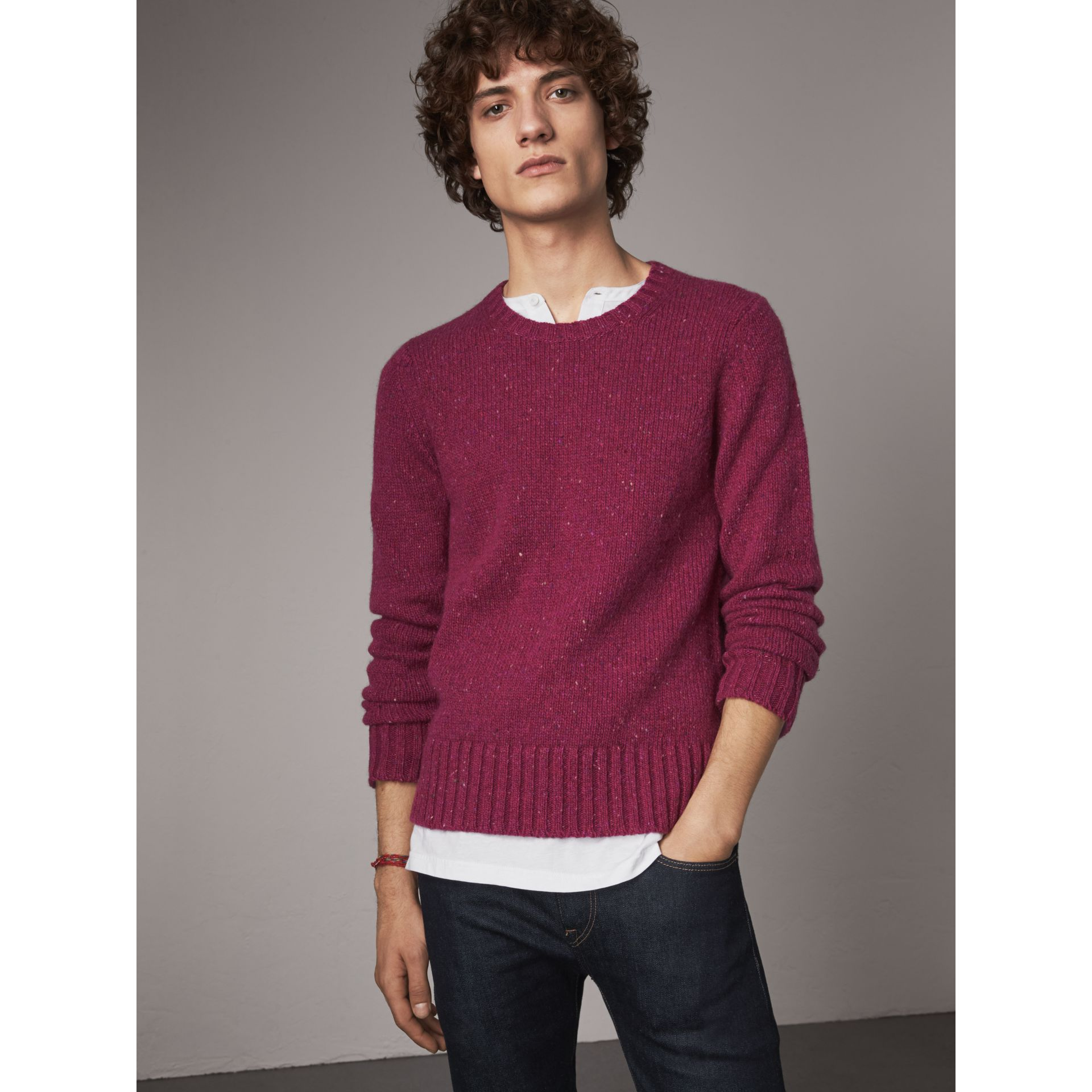 Wool Cashmere Mohair Tweed Sweater in Crimson Pink - Men | Burberry - gallery image 1