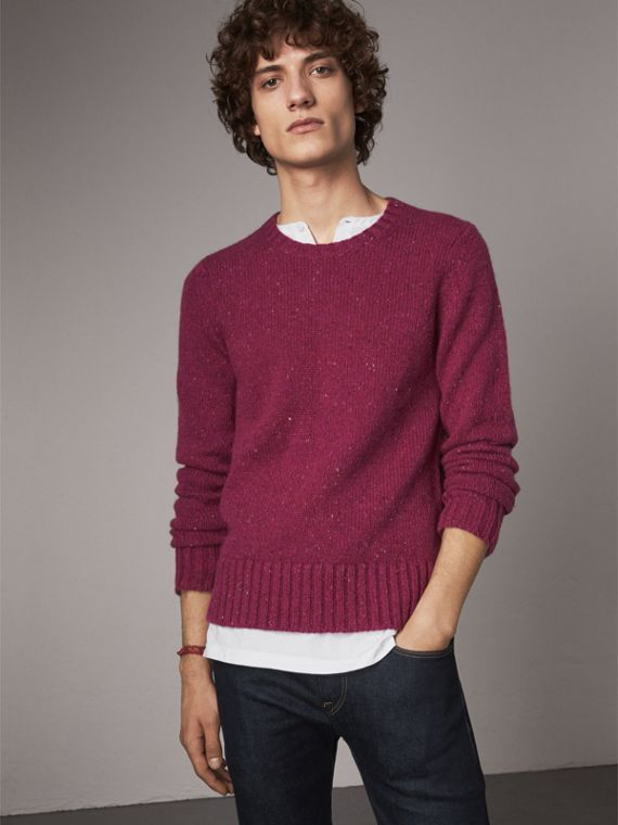 Flecked Wool Cashmere Mohair Sweater in Crimson Pink