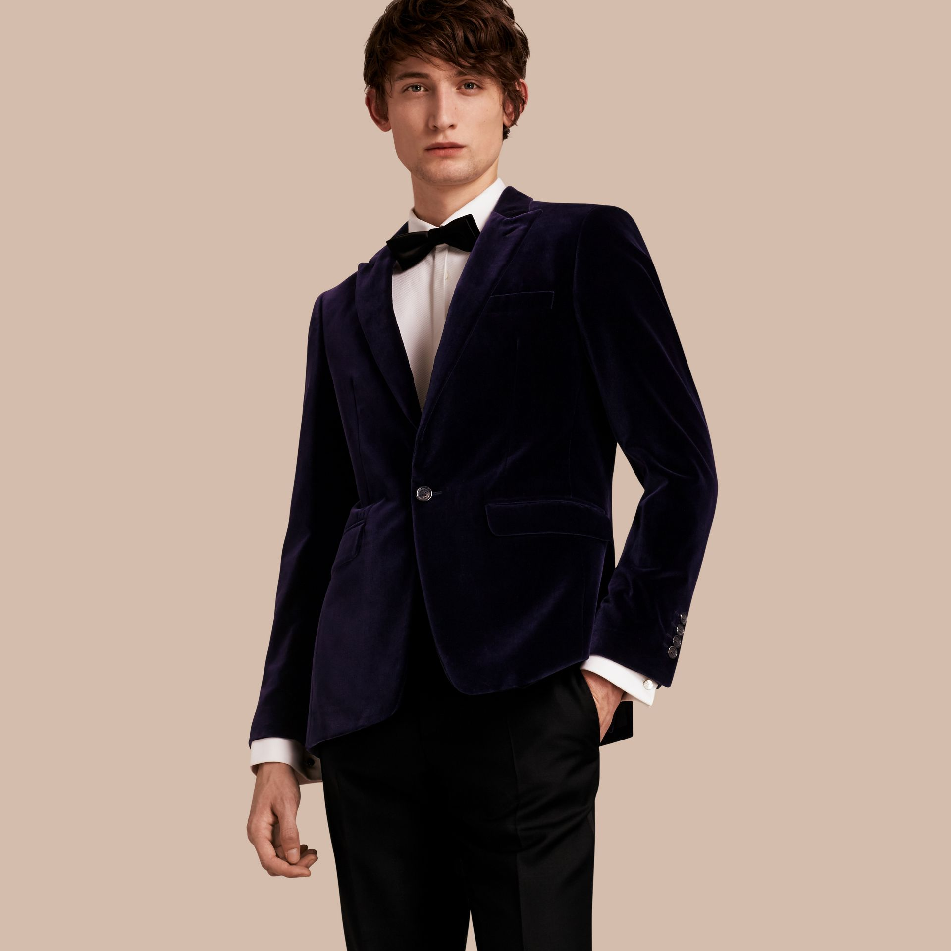 Black Slim Fit Tailored Velvet Jacket - gallery image 1