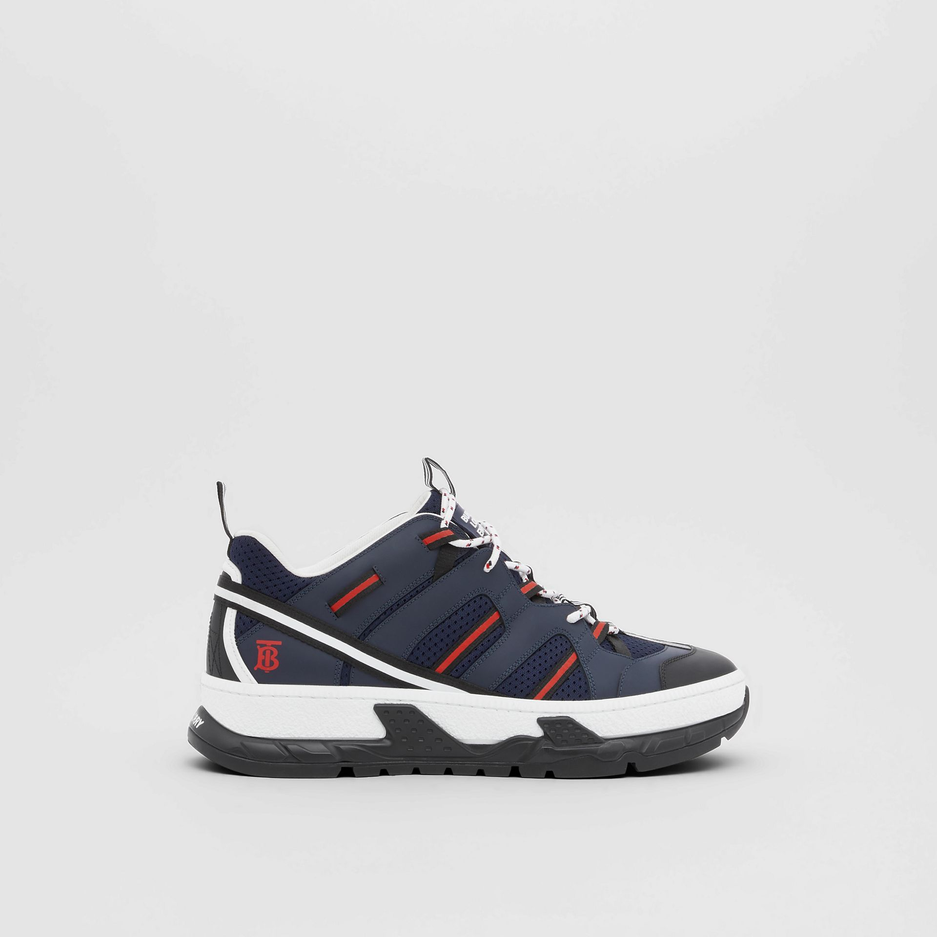 Leather and Mesh Union Sneakers in Navy - Men | Burberry - gallery image 5
