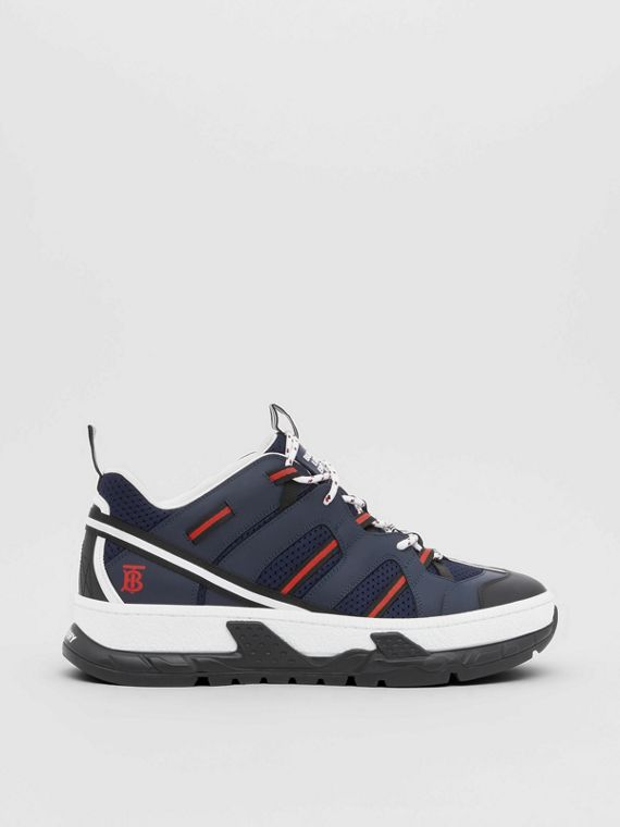 Leather and Mesh Union Sneakers in Navy